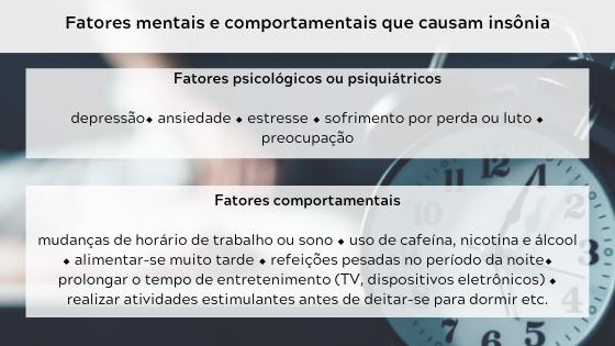 Causas da insônia - fatores mentais e comportamentais
